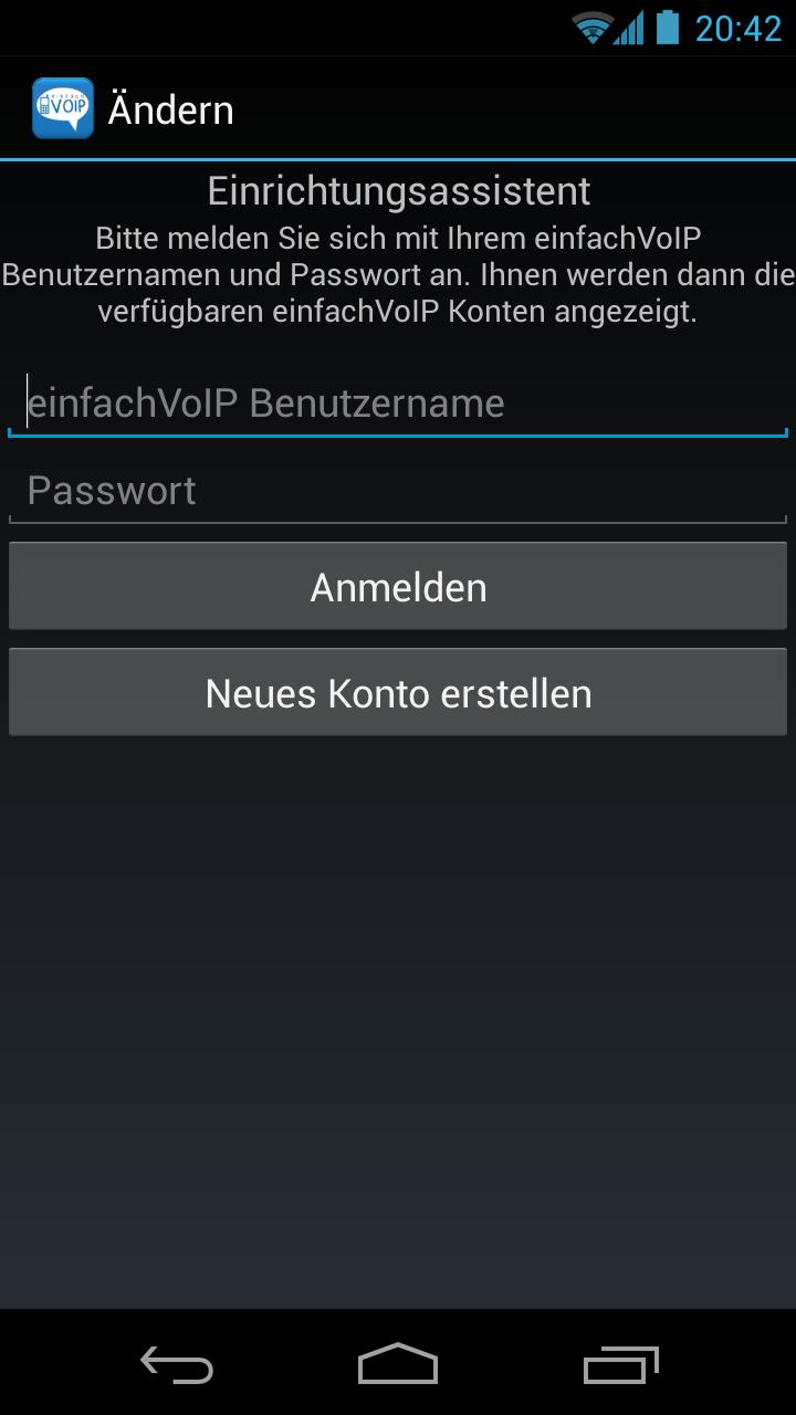 einfachVoIP App Einrichtung