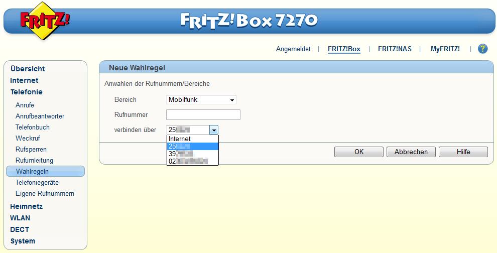 Fritz!Box Wahlregeln